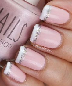 Awesome French Nail Tipped with White and Glitter . http://miascollection.com