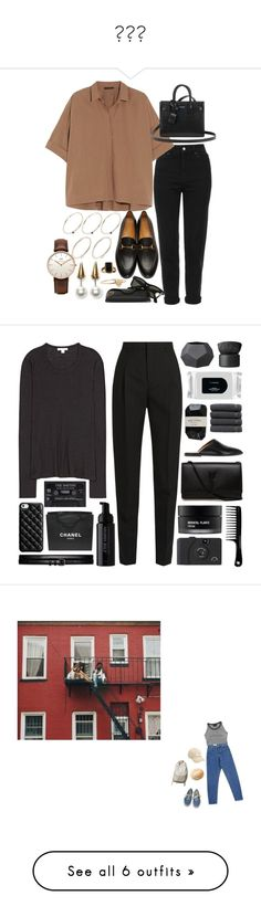 """""""💁🏼🦋"""" by laaaauraanderson ❤ liked on Polyvore featuring Topshop, Gucci, Donna Karan, Yves Saint Laurent, Ray-Ban, Fallon, Daniel Wellington, Pieces, Jennifer Meyer Jewelry and James Perse"""