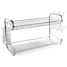 Two Tier Stainless Steel Dish Drying Rack (22 inches)