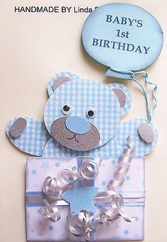 Birthday bear boy 1 year old birthday messages messages and bears 3d babys 1st birthday card craft topper embellishment 1stbd boy bookmarktalkfo Images