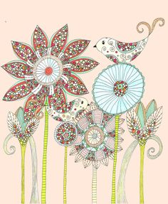My Perfect Garden Mixed Media Art Print, Floral, Birds, Mothers Day