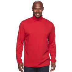 Big & Tall Croft & Barrow® Easy-Care Turtleneck ($14) ❤ liked on Polyvore featuring men's fashion, men's clothing, med red, men's apparel, aztec print mens clothing, mens turtleneck and mens big and tall golf apparel