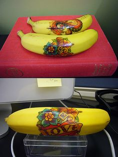 Temporary tattoo on a banana. What kid wouldn't love finding a Super Hero, Spiderman or Hello Kitty banana in their lunchbox?
