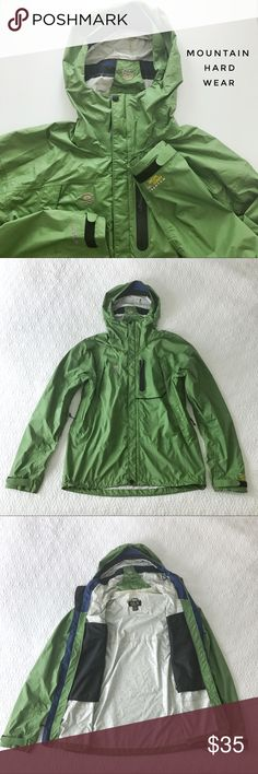 "⭐️👔 Mountain Hard Wear men's rain jacket, size M Green men's rain jacket/ wind breaker with hood from Mountain Hard Wear. Super light Conduit Silk technology, waterproof material with reinforced seams, multiple zippered pockets and vents, toggles at hips, hood with bill to keep rain out of face and can be stored into collar. Relaxed fit.  🍈 Size medium (men's) - shoulders 22"", waist 46"", length 28"" 🍈 Condition: excellent (worn once) 🍈 Material: shell 100% nylon (lining 100% polyester)…"