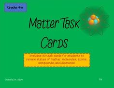 Includes 40 task cards that review concepts of matter including states of matter, atoms, elements, molecules, and compounds. For grades 4-6.