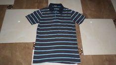 Men's Afm Blue Grey White Striped Short Sleeve Polo Shirt Size Large Original #AFM #Striped
