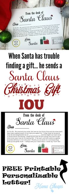 FREE Santa Claus Christmas Present IOU Printable Letter - avoid disappointment on Christmas morning when the most-asked-for-toy just isn't going to happen. http://bit.ly/2gzvtac