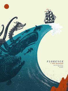 Florence + The Machine gig poster by Andrew Saeger More