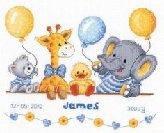 Animal Cheer Birth Sampler Cross Stitch Kit £26.75 | Past Impressions | Vervaco