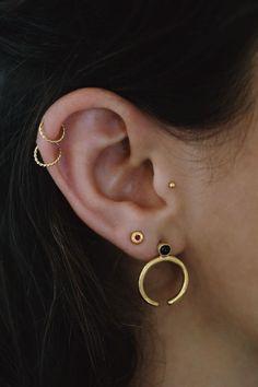 Solid Gold Studs Black Onyx Studs 14k Gold Earrings Drop | Etsy