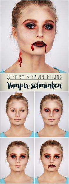 Make up vampire: Step by step instructions # MakeupArtist kidsvampiremakeup . - Make up vampire: Step by step instructions # MakeupArtist kidsvampire makeup - Edward Cullen, Girl Vampire Makeup, Girls Makeup, Diy Crafts Step By Step, Step By Step Instructions, Disfarces Halloween, Halloween Face Makeup, Halloween Costumes, Girls Vampire Costume
