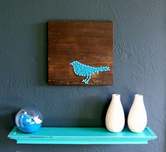 Modern String Art Wooden Tablet Blue Bird on Jacobean by NineRed