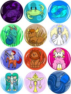 Zodiac Button Batch by Neko-Fantasy Astrology Scorpio, My Horoscope, Scorpio Moon, Astrology Zodiac, Astrology Signs, Horoscopes, Aries, Different Zodiac Signs, 12 Zodiac Signs