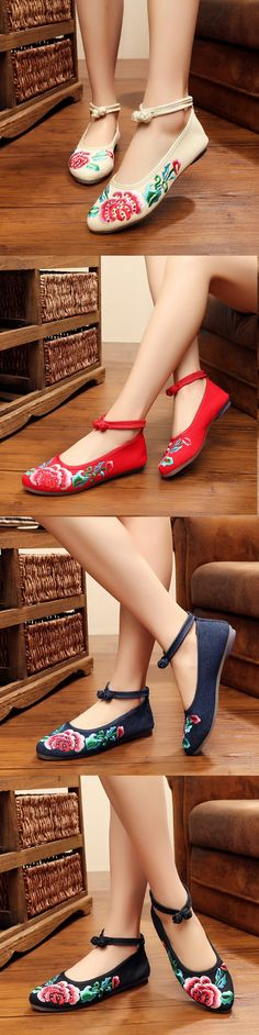 Elegant Embroidered Flower Mary Jane Flat Casual Shoes