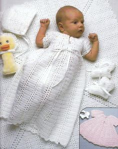 RARE vintage crochet pattern 1970 shell stitch stripe yoke baby christening gown dress layette set bThis RARE vintage crochet pattern 1970 shell stitch stripe yoke is just one of the custom, handmade pieces you'll find in our patterns & how to shops. Vintage Knitting, Vintage Crochet, Baby Knitting, Layette Pattern, Gown Pattern, Baby Patterns, Crochet Patterns, Baby Christening Gowns, Baptism Gown