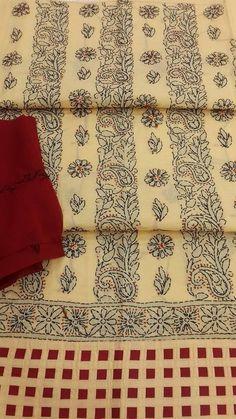 Lucknowi Chikan Suit Length 3 Piece Beige Cotton $24.69