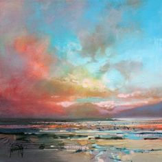 "Scott Naismith - HARRIS WARM SKY STUDY - (Scottish skyscape) 12"" x 12"" oil on canvas - £650 SOLD"