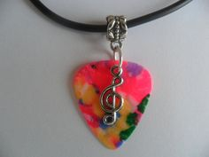 Mixed color guitar pick necklace with treble by absolutemarket, $5.00