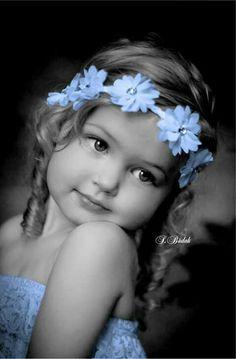 Blue flowers for her hair