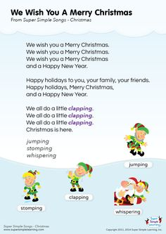 "Lyrics poster for ""We Wish You A Merry Christmas"" holiday song from Super Simple Learning. #kidssongs #kindergarten #ESL"