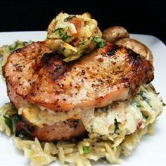 Pork Chops Stuffed with Gouda and Bacon | Center-cut pork chops, stuffed with gouda cheese, parsley, and bacon are excellent grilled or broiled.