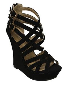 Delicacy Stephy95 Womens peep toe cross strappy buckle ankle zip closure platform wedge sandals Black 7 * Be sure to check out this awesome product.