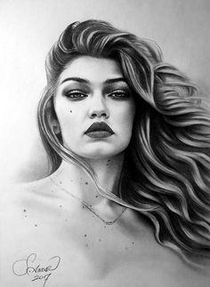 Pencil Drawing - Karakalem - Gigi Hadid
