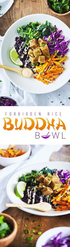 An Asian-inspired Buddha Bowl featuring forbidden rice, crispy spiced tofu and a creamy coconut almond lime dressing. This recipe includes a technique for making the crispiest tofu – without a deep fryer! Veggie Recipes, Asian Recipes, Whole Food Recipes, Vegetarian Recipes, Cooking Recipes, Healthy Recipes, Dinner Recipes, Buddha Bowl Vegan, Fodmap