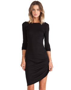 Black Long Sleeve Ruched Wrap Side Backless Dress 19.69
