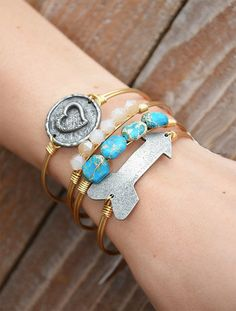 Luca + Stella bracelets! Made in the USA. Sized bangles for a better fit. Find these styles at www.ShopGroovys.com