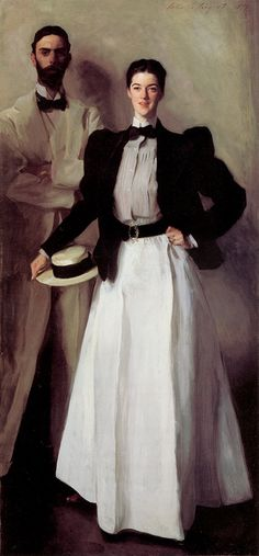 JOHN SINGER SARGENT (American): Mr And Mrs Isaac Newton Phelps Stokes, 1897, 39.75 inch wide x 84.25 inch high, Met, N.Y.