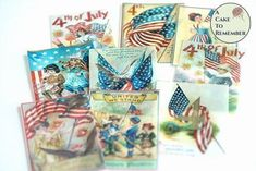 Vintage images of Fourth of July celebrations for cookie decorating 4th Of July Cake, 4th Of July Party, Fourth Of July, Wafer Paper Image, Independence Day Pictures, Edible Cake Decorations, Cookie Tutorials, Paper Supplies, Fondant Molds