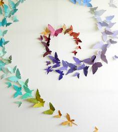 Butterfly Drawing, Origami Butterfly, Butterfly Wall Art, Paper Butterflies, Butterfly Crafts, Butterfly Wall Stickers, Paper Flowers, Paper Wall Art, 3d Wall Art