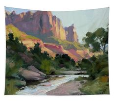 Zion's Watchman, wall art tapestry from Steve Henderson Collections, celebrating the beauty of the wilderness and the quiet of the Southwest landscape. #zion #nationalpark #watchman #southwest #utah