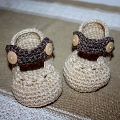 Crochet PATTERN Baby Booties (pdf file) - Cappuccino Mary Janes