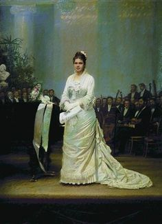Portrait of singer Elizabeth Andreevny Lavrovsky, on stage at the Assembly of Nobility  - Ivan Kramskoy