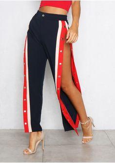 Chantelle Navy Straight Leg Button Trousers