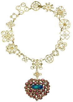 Judy Geib Plus Alpha - Catalog 11: Heart Jackpot Gold Necklace with Opal and Tourmalines