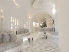 Nefeles Resort SantoriniSantorini2017 - 2019PrivateBuilt340 m2 Cafe Interior Design, Cafe Design, Hotel Architecture, Architecture Design, Dream Home Design, House Design, Vintage White Bedroom, Resort Interior, Dream House Exterior