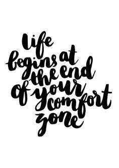 Life begins at the end of your comfort zone | Thortful Typography Cards | Creator: LeahArtOfficial