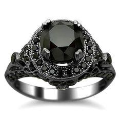 #blackdiamondgem 2.54ct Black Round Diamond Engagement Ring 14k Black Gold Rhodium Plating Over White Gold by Front Jewelers - See more at: http://blackdiamondgemstone.com/jewelry/wedding-anniversary/engagement-rings/254ct-black-round-diamond-engagement-ring-14k-black-gold-rhodium-plating-over-white-gold-com/#!prettyPhoto
