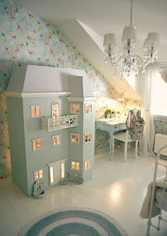 floral toddler room with light three story doll house Baby Bedroom, Girls Bedroom, Bedroom Decor, Bedroom Ideas, Creative Kids Rooms, Cool Kids Bedrooms, Deco Kids, Kids Room Design, Kids Decor