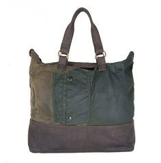 Upcycled Barbour Waxed Cotton & Leather Tote Bag by delacyonline