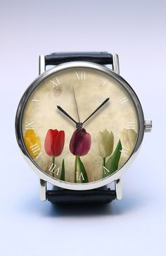 TULIPS Handmade Watch Spring Flowers Watch by LovuTimepieces