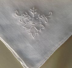 White Vintage handkerchief embroidered in all by Tedsandtreasures