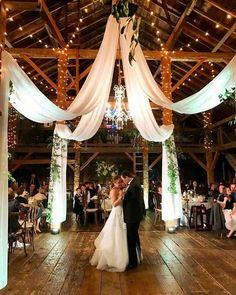 barn wedding reception ideas with draping fabric and lighting Modern Rustic Barn Wedding Inspiration Wedding Goals, Wedding Planning, Dream Wedding, Wedding Day, Wedding Dinner, Perfect Wedding, Wedding Scene, Wedding Parties, Wedding Dreams