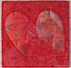 Mended Heart, red challenge quilt by Monika at Himmelgarten Quilts