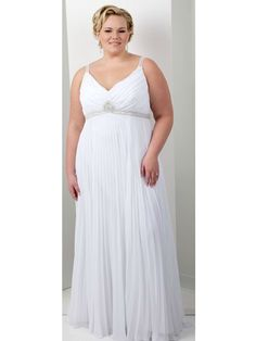 Delicate Plus Size Sheath Column white Beading Chiffon Sleeveness V-neck Sweep Train Lace Up Beach Wedding Dresses Dresses $180.00