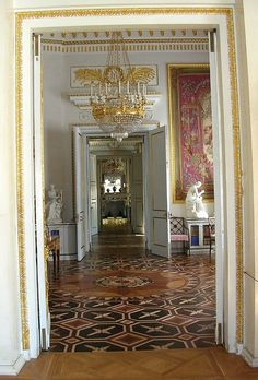 PAVLOVSK PALACE, Saint Petersburg, Russia~ Note the magnificent floors, marquetry inlaid with rare and precious wood in geometric patterns. Visitors are required to remove their shoes, and wear the special slippers provided, so that the precious wood floors are not scratched or scuffed.