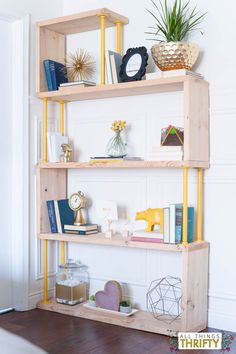Blush, Navy, Yellow Master Bedroom shelf. DIY shelf included.
